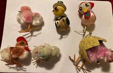 "Vintage chenille pipe cleaner Easter chicken birds pom pom lot of 6 Chicks 1.5"""
