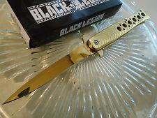 Black Legion Assisted Open Gold Chrome Gangster Stiletto Dagger Pocket Knife 390