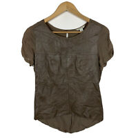 Country Road Womens Top Size XS Brown Leather Front Short Sleeve Good Condition