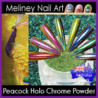 Peacock Holographic Chrome Powder Nail Art Decoration Chameleon Mirror meliney