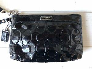 COACH Signature Embossed Black Patent Leather Wristlet Pouch Zip Top Medium EUC!