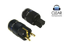 SCHUKOSTECKER+KALTGERÄTESTECKER-BLACK-IEC-POWER PLUG-VERGOLDET-HIFI-HIGHEND-TOP!