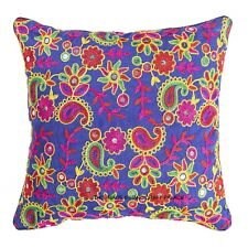 New Indian Vintage Silk Embroidered Blue Paisley Cushion Case Cover Throw Decor