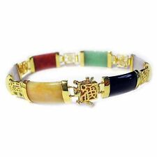 "18K Gold over 925 Silver Multicolor Jade Chinese Motif Bracelet, 7.25"""