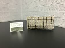 Handmade Cosmetic Bag/ Pencil Case in Beige with White, Black, Purple & Olive