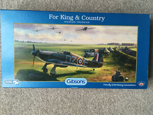 Gibsons 636 Piece Jigsaw Puzzle - For King & Country ( Hawker Hurricane scene)