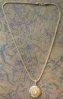 "Vintage Gold Tone Faux Pearl Sunflower Locket Elegant Costume Necklace 22"""