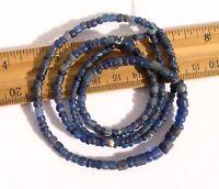 Ancient Tiny Cobalt Blue Roman Glass African Trade Beads Venetian Faience Mummy