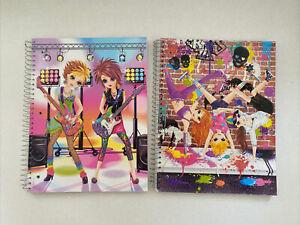 2 Lisa Frank Spiral Notebooks Rock n Roll Guitar & Breakdancing Girls Wide Ruled