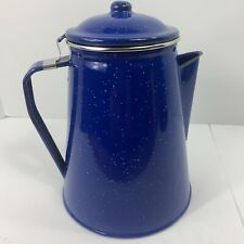 Camping Coffee Percolator Pot Stovetop Blue Speckled Enamel 8 Cup Fire Pit Coals