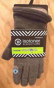 Isotoner Active SmarTouch Oxford Heather Gray Sporty Stretch Fleece Gloves - $40