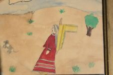 Antique Native American Ledger Type Watercolor Painting Old Primitive Folk Art
