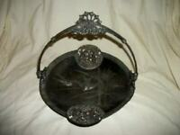 ANTIQUE AESTHETIC VICTORIAN SILVER PLATED BASKET BIRDS CHERUBS ORNATE