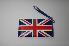 Union Jack Flag Red White Blue Zipper Wristlet Makeup Pencil Bag New