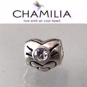 NEW Chamilia Heart Bead Charm - April Birthstone Sterling Silver I-16 Swarovski
