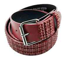 Men's Fashion Studded Belt (New L) Red Mini Studs Quality Genuine Italian Design