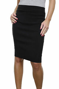 """ICE (2495-1) Office School Stretch Pencil Skirt 22"""" Smart Casual Black 6-18"""