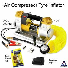 Portable 12V Air Compressor tyre inflator pump gauge 200L 200 PSI - 4x4 4wd car