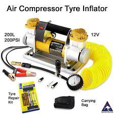 Portable 12V Air Compressor tyre inflator pump gauge 200L 200 PSI - 4x4 4wd car