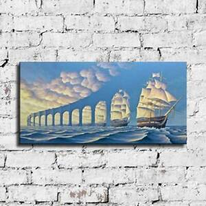 "48x24"" Rob Gonsalves ""The Sun Sets Sail"" HD print on canvas large wall picture"
