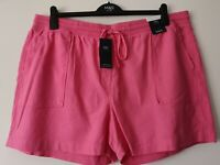 LADIES M&S SIZE 22 PINK PULL ON EASY IRON LINEN RICH SHORTS FREE POST
