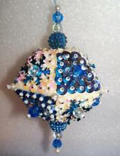 WHITE PEARLS & BLUE BEADS HANDMADE CHRISTMAS ORNAMENT - PINK, BLUE & SILVER