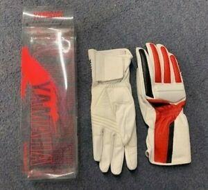Yamaha Leather Motorcycle Gloves - White