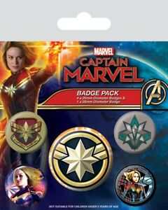 Captain Marvel pack of 5 round pin badges    (py)