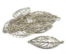 10pcs Silver Tone Metal Filigree Leaf Pendants Jewelry DIY Findings 50x25mm