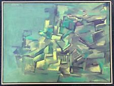 Contemporary Abstract Shapes Oil Painting Retro Modern Art Wall Hanging Signed