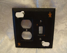 Primitive Sheep & Stars Wooden Double Combo w/ Toggle Switch Plate Cover