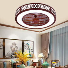 22 Ceiling Fan Light Enclosed Fan Modern Led 3 Colors Semi Flush Mount Remote