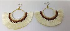 New  Handmade White And Brown Fringed  Design  Earrings