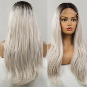 Long Straight Synthetic Lace Front Wigs Black Root Ombre Silver White Women Hair