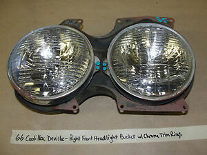66 Cadillac DeVille RIGHT FRONT PASSENGER HEADLIGHT BUCKET W/ CHROME TRIM RINGS