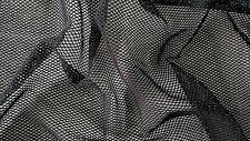 Black Stretch Lycra Fishnet Fabric with shiny silver glitter effect
