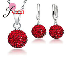 925 Sterling Silver Sparkling Cubic Zirconia Crystal Necklace And Earring Set UK