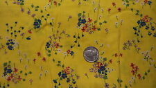 """Vintage Cotton Fabric RED,PURPLE,BLUE FLORAL/ BRIGHT YELLOW Peter Pan 1/2 Yd/42"""""""