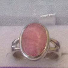 """SOLID SILVER UNUSUAL """"CORAL PINK/CREAM RING ,SIZE O 1/2. REDUCED"""