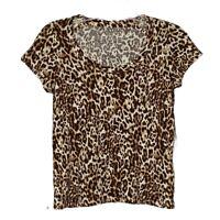 Banana Republic T-Shirt Size Medium Tan Brown Animal Print Leopard Print