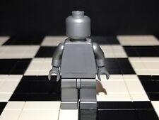 Lego Flat Silver Minifigure Monochrome With Dark Bluish Hand