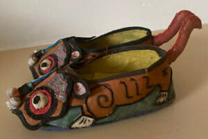 Very Old Antique Childrens Child Handmade Lotus Chinese Silk Animal Shoes