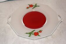 Antique Glass Tray  White  Red  Tulip Flowers Serving Sandwich Platter