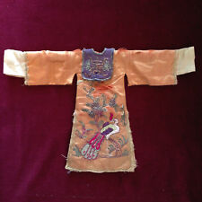 Antique Chinese Embroidery Bird Silk Jacket Dress Robe for Doll Puppet