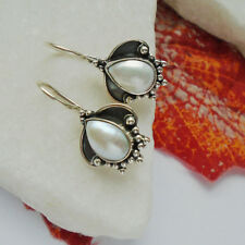 Perle weiß edel elegant nostalgisch Ohrringe Ohrhänger 925 Sterling Silber neu