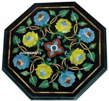 "12"" Marble Inlay Corner Multi Color Stone Floral  Work Art Handmade Decor"