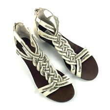 Steve Madden Chainge Women's Size 6 Braided Leather Zip Back Low Wedge Sandals