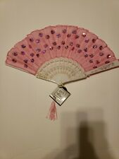 Nwt- Foldable hand fan, pink with white acrylic handle and gold-colored detail
