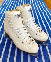 Women's Ladies Girls Ice Skates Size 5 Riedell Model 110 Figure Skates White