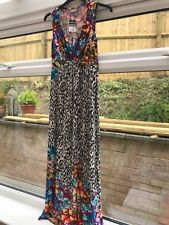 WALLIS LONG DRESS 12 summer floral v- neck animal print black white party beach